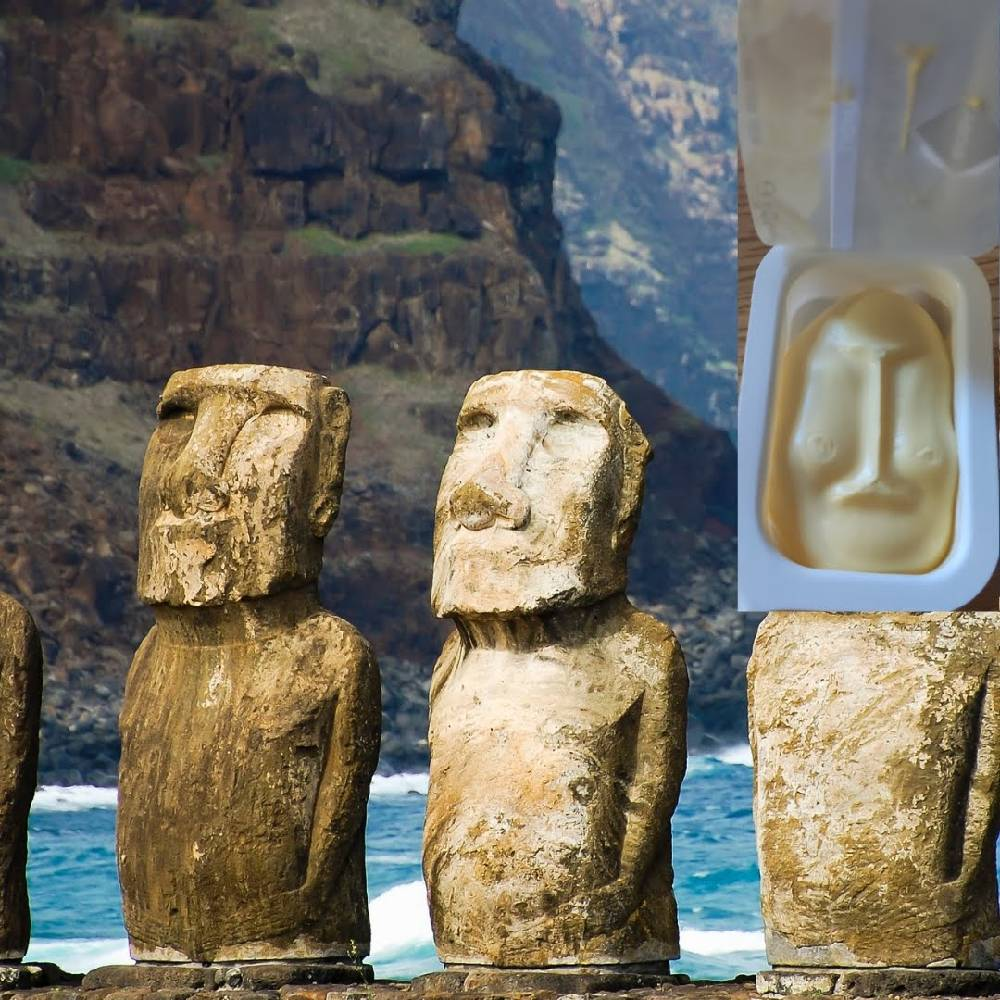 Every breakfast we get margarine pack which reminds us of the Easter Island.